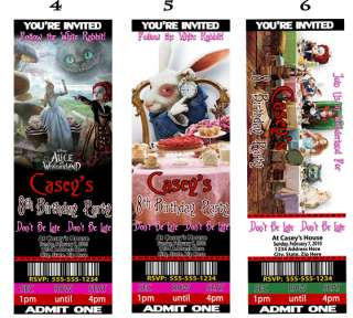 Alice in Wonderland Birthday Party Invitations Favors