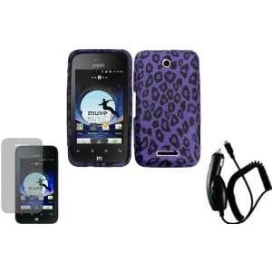 Purple Leopard TPU Case Cover+LCD Screen Protector+Car