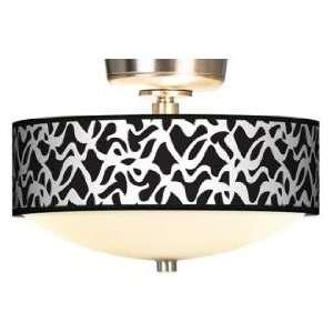 : White Ribbon Giclee Energy Saver Brushed Steel Fan Light Kit: Home