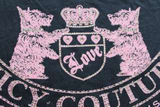 NWT Juicy Couture Black CRYSTAL RHINESTONES SCOTTIE DOG Tee SHIRT P S