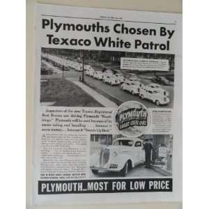 Plymouth cars/Texaco gas station. Vintage 30s full page