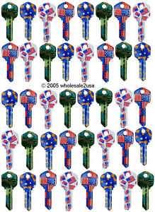 40 Uncut KW1 Locksmith Color Key Blanks Male Customers
