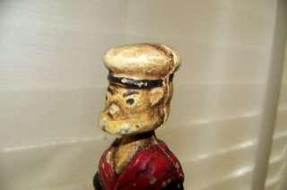 Vintage Cast Metal Still Bank, Popeye, Sailor, 5 1/8 Tall, Wear on