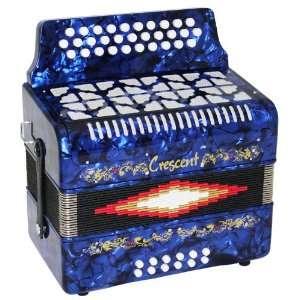 Crescent Blue 31 Button, 12 Bass Accordion Musical Instruments
