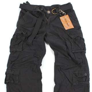BNWT Men VINTAGE CARGO Belted PANTS P036 D Gray