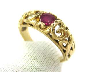 Art Nouveau 0.25ct Natural Ruby 14K Gold Ring   Size 6.25