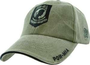 BLACK POW MIA OD MILITARY EMBROIDERED HAT CAP