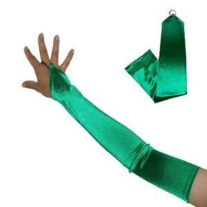 23 Long GREEN Fingerless Satin Opera Stretch Bridal Gloves Above the