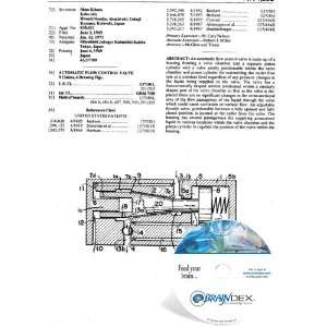 NEW Patent CD for AUTOMATIC FLOW CONTROL VALVE Everything Else
