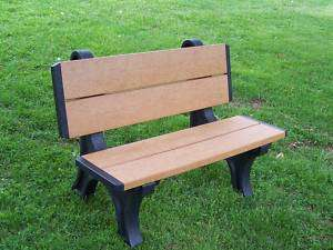 Cedar & Black   4 Recycled Plastic Park Bench (GREEN)