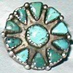 Vintage Zuni Indian turquoise ring size 6 old flower mexico