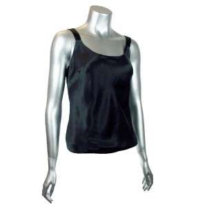 Patrick Christopher Womens Silk Charmeuse Black Tank