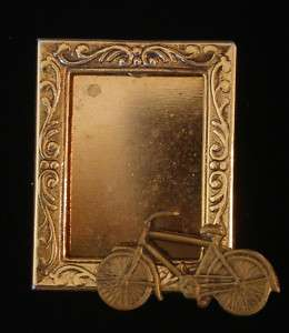Bike 10 Speed Photo Frame Pin Brass & 24 kt Gold Plate
