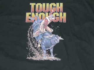 New Mens Cotton Black Western Rodeo T shirt Bull Rider Tough Enough