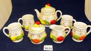 Roberts Ceramic Fruit Tea Set Teapot Sugar Creamer 4 Cups Mugs