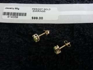 10K Gold 1.68 Ct Oval Peridot Stud Gold Earrings $99.00