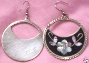 SILVER MEXICAN COIN ALPACA ABALONE EARRINGS SET