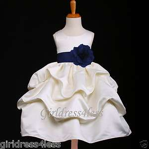 IVORY/NAVY BLUE PICK UP WEDDING FLOWER GIRL DRESS 6M 12M 18M 2 4 6 8