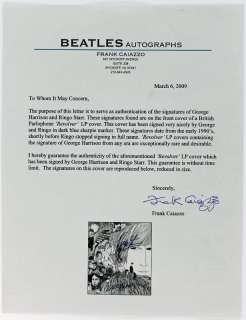 PAUL MCCARTNEY GEORGE HARRISON & RINGO STARR SIGNED ALBUM COVER PSA
