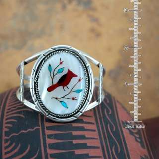 Navajo Native American Red Bird Inlay Bracelet 43C