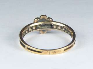 ANTIQUE VICTORIAN 14K GOLD DIAMOND SEED PEARL FLOWER RING 1884