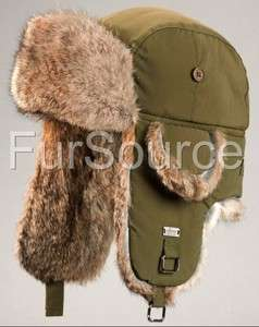 Rabbit Fur Aviator  Trapper Ear Flap Trooper Winter Hat
