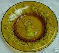 Little Bo Peep Crystal Amber Glass Plate   Vintage