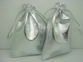 Silver Foil Satin Jewelry Favor Gift bags 4X6inch XKN2