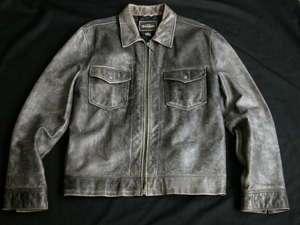 EARL JEAN Distressed Grey Leather Motorcycle Jacket Mens L