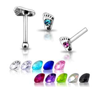 20g 6mm Silver Foot Clear CZ GEM Nose Stud Pin N082