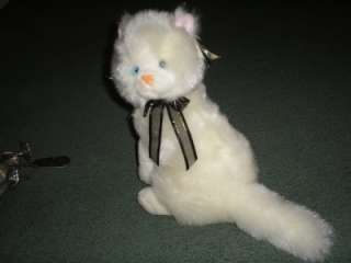 white blue eyes cat kitten bow royal plush toys w/ tag |