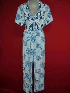 JAMS WORLD Blue Crinkled Hawaiian Floral TAHITI Top Pants Outfit
