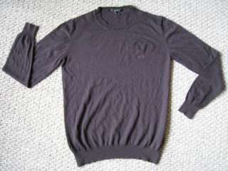 GUCCI Mens Brown Merino Wool Sweater w/ Logo Red Green Stripe M
