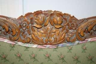 Antique Hand Carved Wooden Upholstered Queen Bed Frame