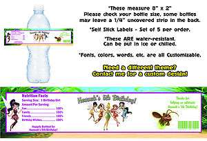 Tinkerbell Fairies Printed Water Bottle Labels ~ Birthday Party Favors