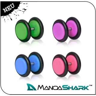 Paar Pop Art Fake Plug Piercing Ohrring Plugs 8mm