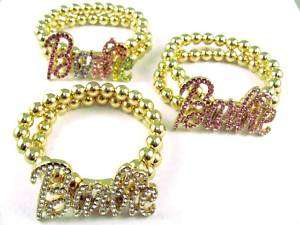 NICKI MINAJ BARBIE Bracelet W/ Ball Chain Gold Stretch