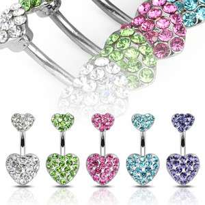 Surgical Stainless Steel Pave Crystal Heart Belly Navel Ring C302