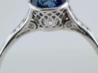 Vintage Antique .90ct Kashmir Blue Sapphire Platinum Art Deco