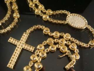 NEW MENS YELLOW GOLD EP ROSARY WHITE CZ NECKLACE CHAIN