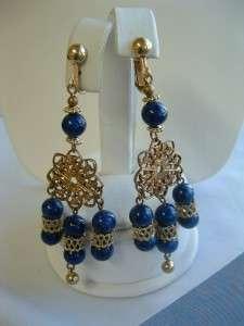 Vintage Blue Glass Bead Dangle Earrings Etruscan Style