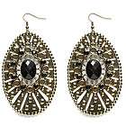 black gold tear drop faceted rhinestone dangle earrings one day