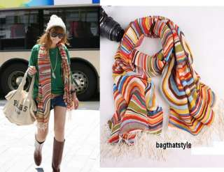 Celebrity 100% Wool Women Rainbow Shawl scarf Scarves