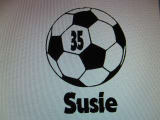Personalized SOCCER ball team school vinyl window decal sticker name