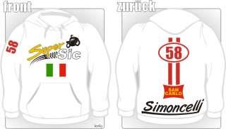 Marco Simoncelli 58 moto gp Kapuzen Hoodie Pullover NEU