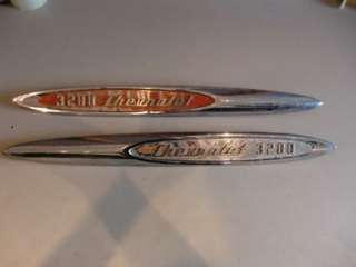 1957 Chevy Truck Fender Emblems (3200 Chevrolet ) Pair 3/4 Ton PU