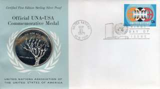 Official UNA USA STERLING SILVER Commemorative Medal
