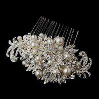 Silver Clear Crystal & White Pearl Bridal Comb