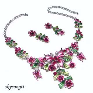 Pink Enamel Crystal Butterfly Leaf Necklace Set S1618P