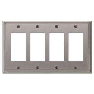 Creative Accents Metro Line 4 Gang Brushed Nickel GFI Decorative Wall